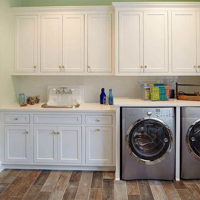 Solid Wood Maple Custom Laundry Cabinets