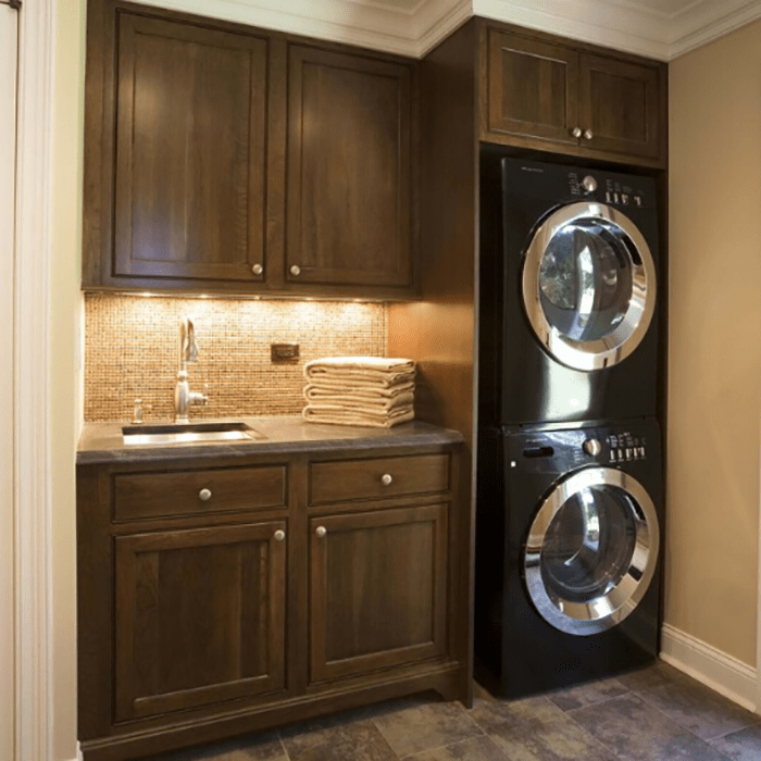 Custom Cherry Solid Wood Small Laundry Room Cabinets