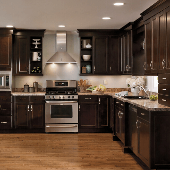 Brown Cherry Maple Wood Cabinets For Kitchen