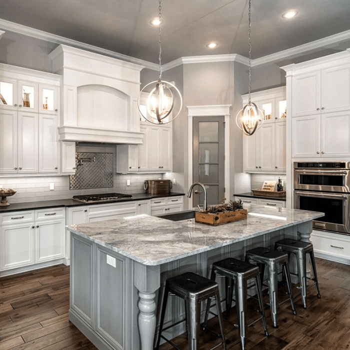 High End White Kitchen: Country Vintage Luxury Design Solid Wood Kitchen Cabinets